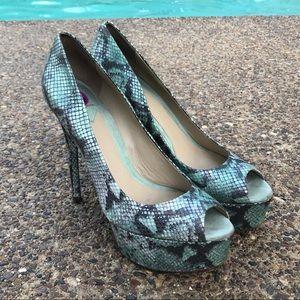 Brian Atwood Python Platform Peep Toe Shoes 8.5
